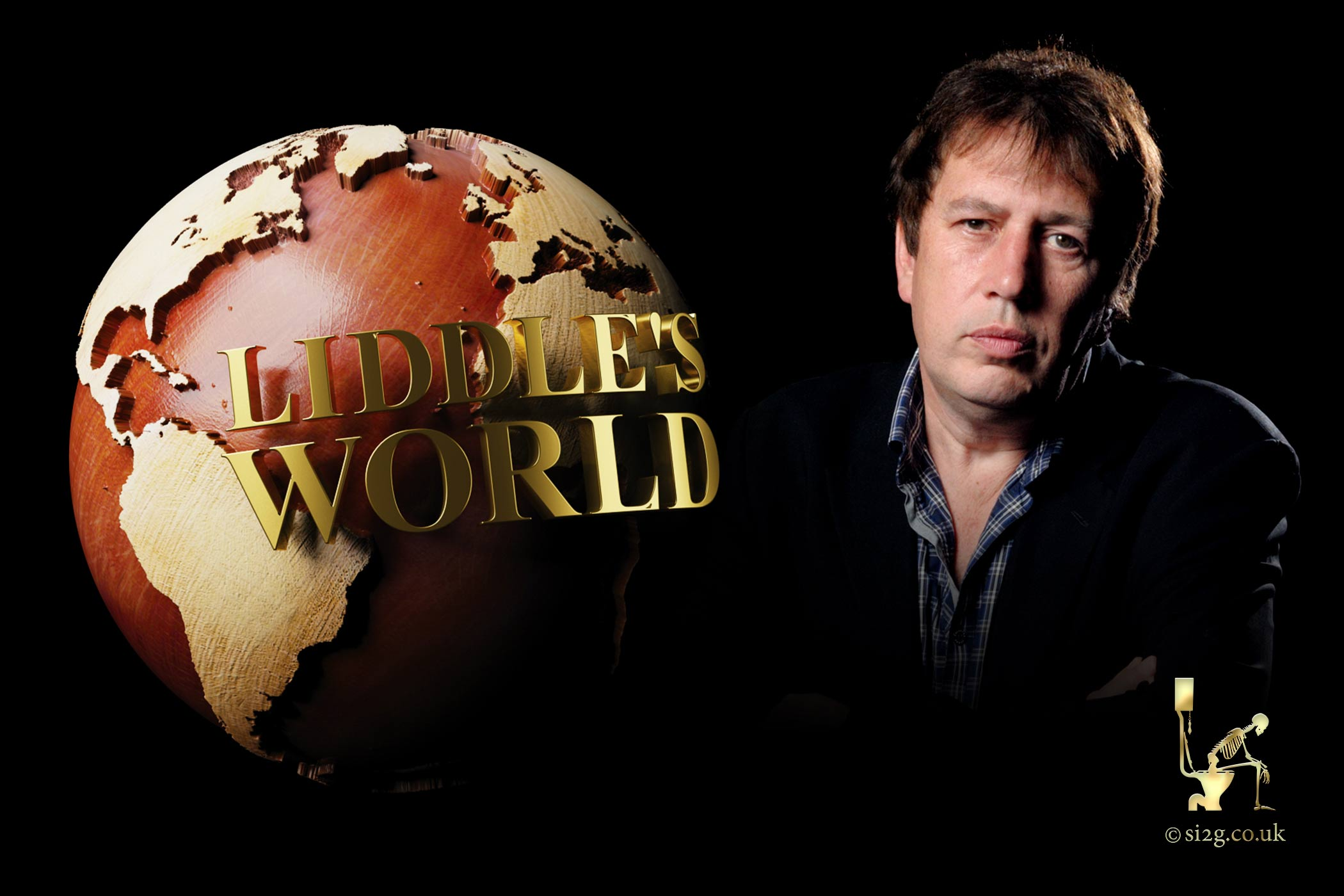 Liddles World - Animated motion graphics and print design for TV production.  We set up our shoot in the Hospital Club studio and filmed Rod Liddle against a black background.  We then designed a wooden globe in 3D and composited it to form a title sequence, publicity and TX card.