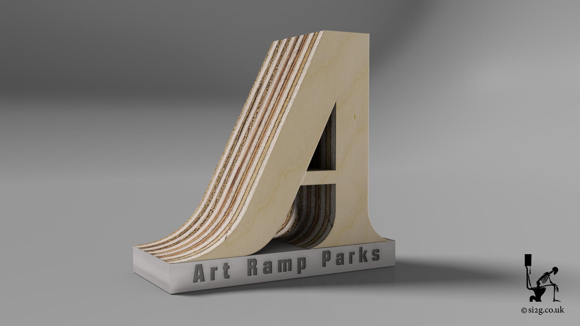 Skatepark Builders Logo - This client wanted their simple 2D logo to look more like some of their skatepark designs.  The brief was to redesign the logo in 3D and make it look like it was made from 18mm marine ply.  The final design was provided cut out and separate from the background, allowing them more flexibility in its application.