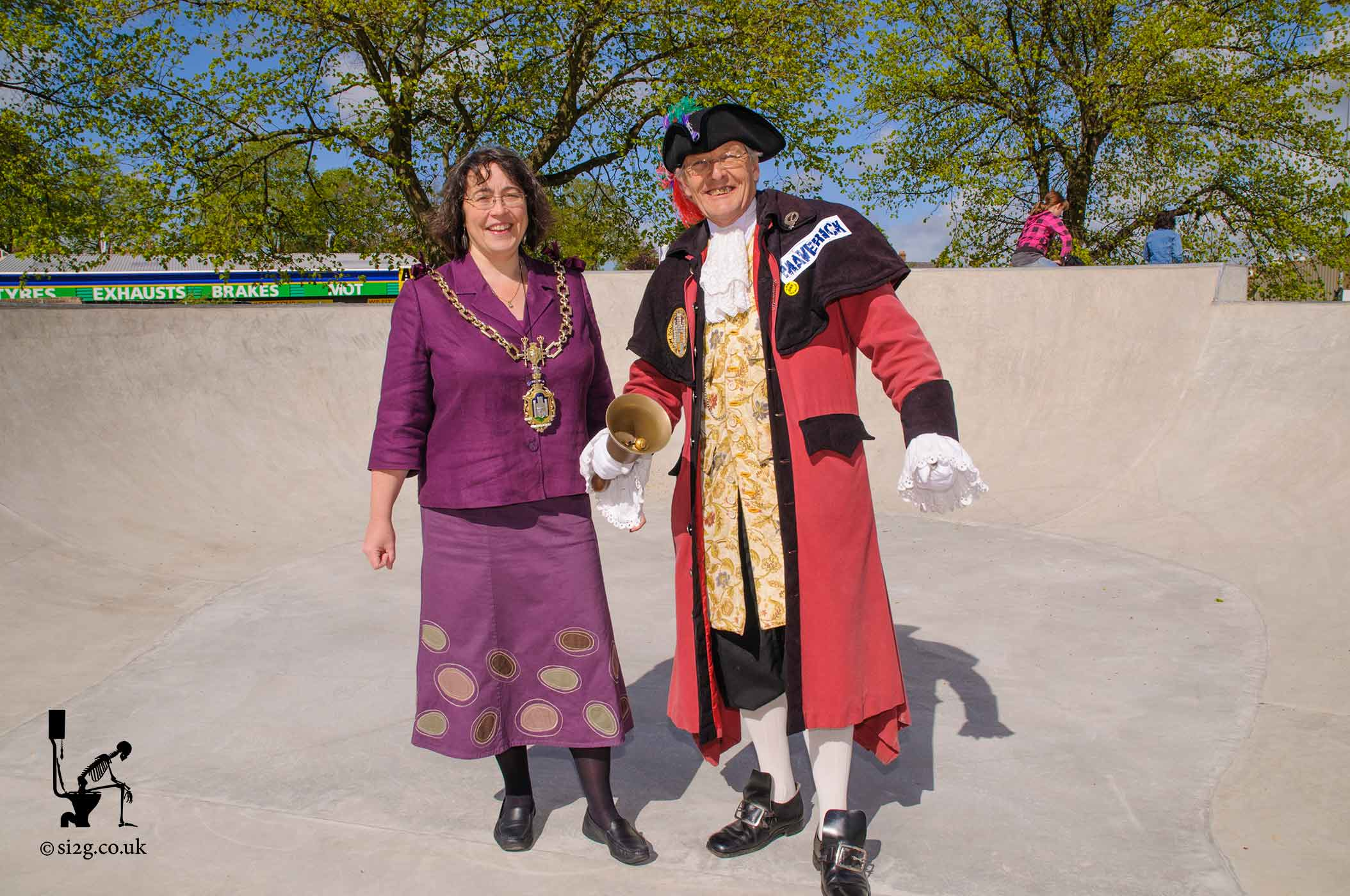 Mayor and Town Crier - The Mayor of Dorchester and the Tower Crier at the official opening of Dorchester Skatepark.